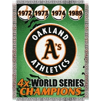 "Oakland A's MLB World Series Commemorative Woven Tapestry Throw (48x60"")"""
