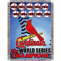 "Saint Louis Cardinals MLB World Series Commemorative Woven Tapestry Throw (48x60"")"""