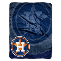 Houston Astros MLB Royal Plush Raschel Blanket (Retro Series) (50in x 60in)