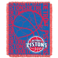 Detroit Pistons NBA Triple Woven Jacquard Throw (Double Play Series) (48x60)