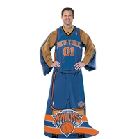 New York Knicks NBA Adult Uniform Comfy Throw Blanket w/ Sleeves