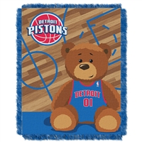 Detroit Pistons NBA Triple Woven Jacquard Throw (Half Court Baby Series) (36x48)