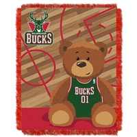 Milwaukee Bucks NBA Triple Woven Jacquard Throw (Half Court Baby Series) (36x48)
