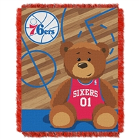 Philadelphia 76ers NBA Triple Woven Jacquard Throw (Half Court Baby Series) (36x48)