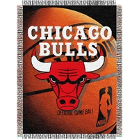 "Chicago Bulls NBA Woven Tapestry Throw Blanket (48x60"")"""