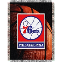 "Philadelphia 76ers NBA Woven Tapestry Throw blanket (48x60"")"""