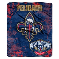 New Orleans Pelicans NBA Royal Plush Raschel Blanket (Drop Down Series) (50x60)