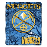 Denver Nuggets NBA Royal Plush Raschel Blanket (Dropdown Series) (50in x 60in)