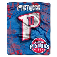 Detroit Pistons NBA Royal Plush Raschel Blanket (Drop Down Series) (50x60)