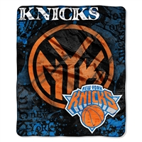 New York Knicks NBA Royal Plush Raschel Blanket (Drop Down Series) (50x60)