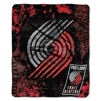 Portland Trail Blazers NBA Royal Plush Raschel Blanket (Drop Down Series) (50x60)
