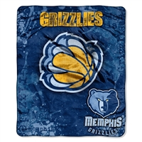 Memphis Grizzlies NBA Royal Plush Raschel Blanket (Drop Down Series) (50x60)