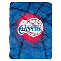 Los Angeles Clippers NBA Royal Plush Raschel Blanket (Shadow Series) (60x80)