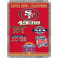 "San Francisco 49ers NFL Super Bowl Commemorative Woven Tapestry Throw (48x60"")"""