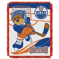 Edmonton Oilers NHL Triple Woven Jacquard Throw (Score Baby Series) (36x48)