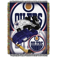 "Edmonton Oilers NHL Woven Tapestry Throw Blanket (Home Ice Advantage) (48x60"")"""