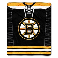 "Boston Bruins NHL Royal Plush Raschel Blanket (Jersey Series) (50x60"")"""