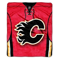 Calgary Flames NHL Royal Plush Raschel Blanket (Jersey Series) (50in x 60in)