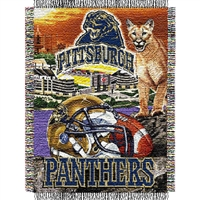 "Pittsburgh Panthers NCAA Woven Tapestry Throw (Home Field Advantage) (48x60"")"""