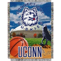 "Connecticut Huskies NCAA Woven Tapestry Throw (Home Field Advantage) (48x60"")"""