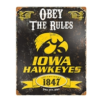 Iowa Hawkeyes NCAA Vintage Metal Sign (11.5in x 14.5in)