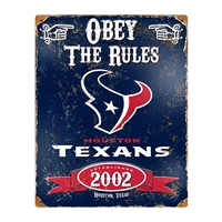 Houston Texans NFL Vintage Metal Sign (11.5in x 14.5in)