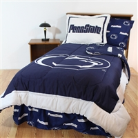 Penn State (PSU) Nittany Lions Bed in a Bag Queen - With Team Colored Sheets