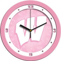 "Wisconsin Badgers 12"" Wall Clock - Pink"