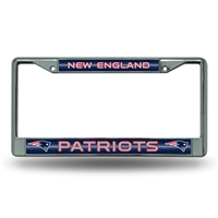 New England Patriots NFL Bling Glitter Chrome License Plate Frame