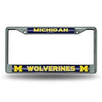 Michigan Wolverines NCAA Bling Glitter Chrome License Plate Frame