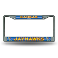 Kansas Jayhawks NCAA Bling Glitter Chrome License Plate Frame