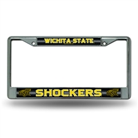 Wichita State Shockers NCAA Bling Glitter Chrome License Plate Frame