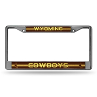 Wyoming Cowboys NCAA Bling Glitter Chrome License Plate Frame