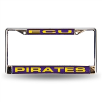 East Carolina Pirates NCAA Laser Chrome License Plate Frame