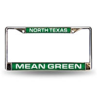 North Texas Mean Green NCAA Chrome Laser Cut License Plate Frame