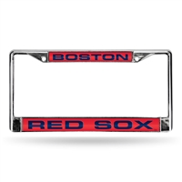 Boston Red Sox MLB Chrome Laser Cut License Plate Frame