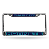 Charlotte Hornets NBA Chrome Laser Cut License Plate Frame