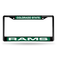Colorado State Rams NCAA Black Chrome Laser Cut License Plate Frame