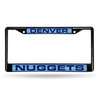Denver Nuggets NBA Black Chrome Laser Cut License Plate Frame