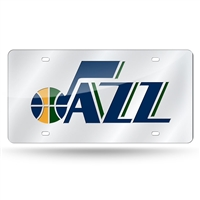 Utah Jazz NBA Laser Cut License Plate Cover Silver