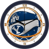"Brigham Young BYU Cougars Slam Dunk 12"" Wall Clock"