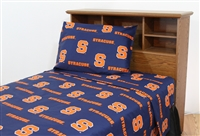 Syracuse Orange Printed Sheet Set Twin - Solid