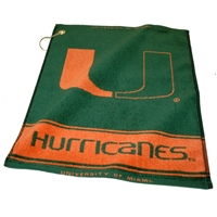 Miami Hurricanes NCAA Woven Golf Towel