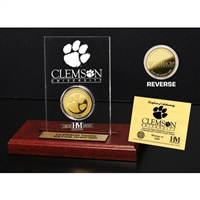 Clemson Tigers 24KT Gold Coin Etched Acrylic