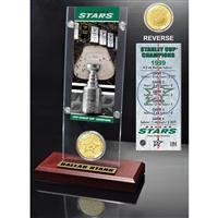 Dallas Stars Stanley Cup Champions Ticket and Bronze Coin Acrylic Display