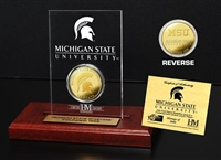 Michigan State University 24KT Gold Coin Etched Acrylic
