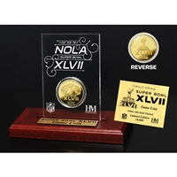 Super Bowl XLVII Gold Flip Coin Desk Top Acrylic