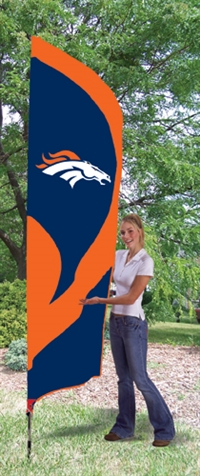 Denver Broncos NFL Tall Team Flag with Pole