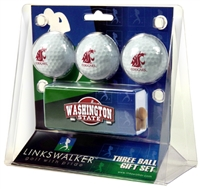 Washington State Cougars Slider Hat Clip 3 Ball Gift Pack