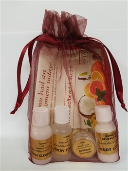 Nonie Intro Pack - AHA! Skin Cleanser, Skin Tonic, Body Lotion and Moisturizer in an Organza Bag